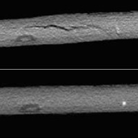 MicroCT images of before (top) and after (bottom) healing of remendable carbon fiber composite with delamination damage. Healing was performed using resistive heating. Image modified from Park, Darlington et al, Composites Science and Technology, 2010.
